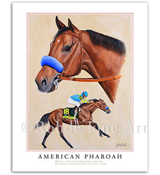 American Pharoah horse racing art print painting portrait picture