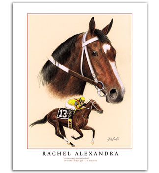 Rachel Alexandra filly horse racing art prints painting for sale