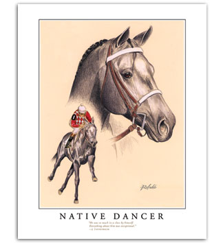 Native Dancer famous racehorse horseracing art prints paintings