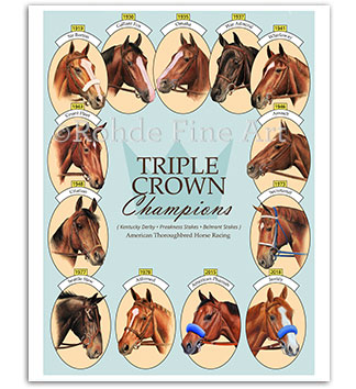 Triple Crown winners Justify horse racing art prints paintings
