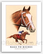 Rags to Riches filly thoroughbred horse racing art Belmont Stakes