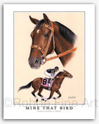 Mine That Bird Kentucky Derby thoroughbred horse racing art paintings