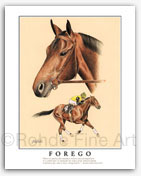 Forego famous race horses thoroughbred horse racing art horse artists