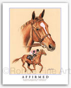 Affirmed Thoroughbred horse art Kentucky Derby Triple Crown artist posters