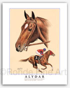 Alydar horse racing art by Rohde equestrian art horse artists painting