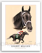 Eight Belles horse racing pictures signed & numbered art print painting