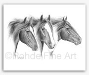 Free Spirits mustangs wild horses in art graphite