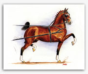 Hackney horse show pony art painting prints harness